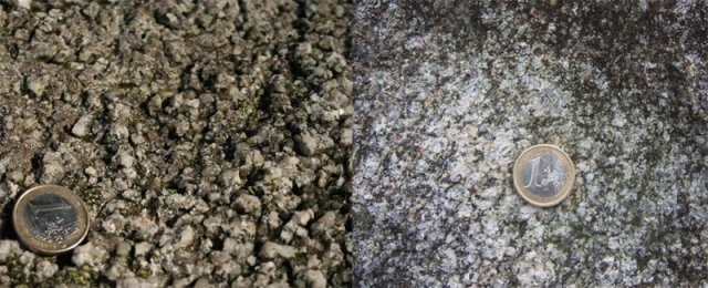 ven for the same rock type grain size can vary hugely, in this case granite.