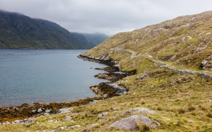 Looking along the Famine Road into the Fjord.